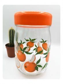 Pot en verre couvercle orange