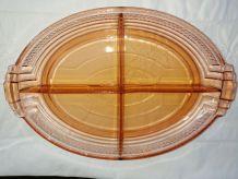 Plat / ravier vintage en verre rose