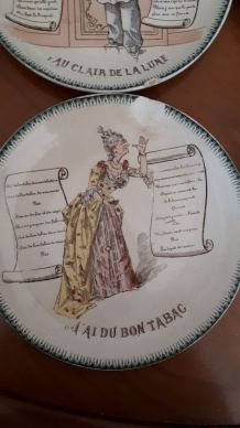 2 Assiettes collection chanson, Terre de fer