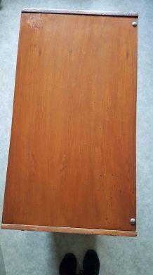 meuble à chaussures vintage en bois couleur teck pieds métal