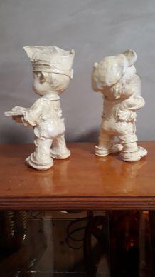 petit personnages poulbeau 1950 platre