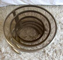 Tables gigognes (x3) acier et verre fumé – années 70