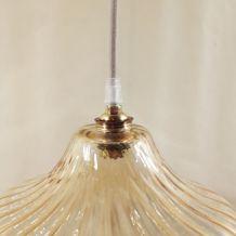 Suspension vintage en verre doré