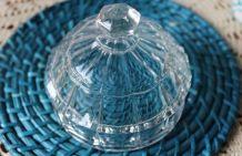 BEURRIER Vintage en verre transparent rond en forme de dôme