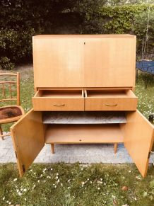 Secrétaire bureau vintage 1960 pieds fuseaux