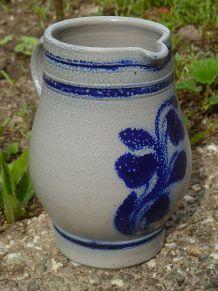 cruche en grès gris et  bleu, vintage