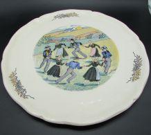 "grand plat à tarte Sarreguemines ""ronde au pays de Quimper"""