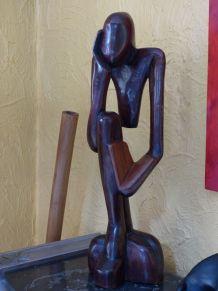 statue bois un seul bloc H70 cm