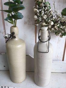 Paire de bouteilles en terre vernissée