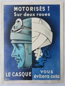 Affiche sncf P. Hauducoeur 10/58 sécurité routière moto