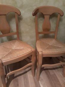 4  chaises en hêtre assise paille