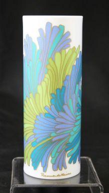 Vase rosenthal floral cylindrique porcelaine