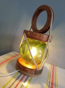 lampe vintage lanterne de pêcheur, globe verre, bois, corde