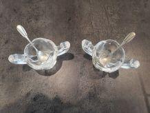 2 Salerons verre et métal argenté