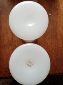 Rare paire de vases opaline savonneuse  ancienne XIX ème