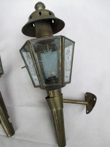 paire de lanternes de cocher fiacre verre gravé