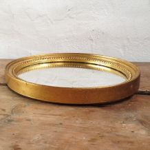 Miroir oval bois doré 26x20