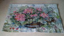 Tapisserie murale florale aux couleurs pastel 120 x80