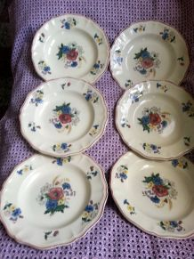 Assiettes creuses lot de 6 faience Digoin Sarreguemines