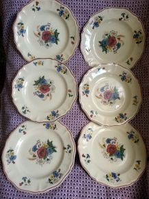 Assiettes plates lot de 6 faience Digoin Sarreguemines