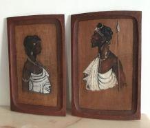 Lot de 2 portraits panneaux de bois peint