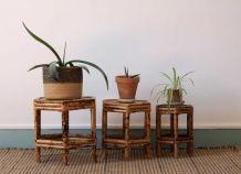 Trio de tables gigognes en bambou