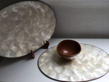 Lot de 3 sets de table ovales en nacre