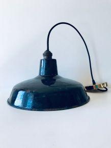 Suspension vintage industrielle métal émaillé noir