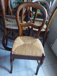 6 chaises assises en paille