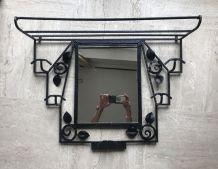 Porte-manteau en fer forgé avec miroir Art Déco 1930