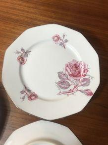 6 assiettes anciennes MLV vintage 1950 à la rose