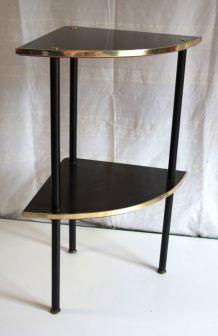 Étagère d'angle métal et bois – circa 70
