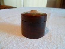 Petite boite ronde en bois incrusté laiton inde