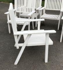Suite de 6 fauteuils de jardin en bois des années 70