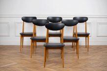 Série de 6 chaises vintage en chêne doré et skaÏ.