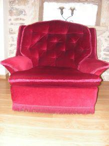 fauteuil chauffeuse velours vintage
