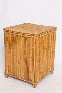 Tabouret coffre en bambou/rotin
