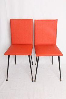 Chaises en skai orange (années 70)