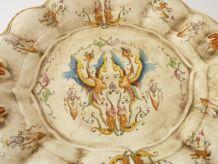 Plat, plateau de service en céramique peinte à la main