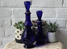 Bouteille Vintage Bleu Cobalt Verre Génie