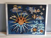 tableau canevas vintage style Lurcat soleil et poissons