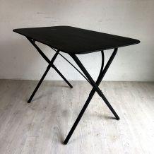 Table de jardin vintage 60's pliante en métal noir