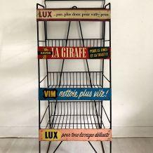 Présentoir publicitaire vintage 50's en métal et tôle