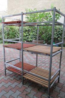 Etagère industrielle bois et fer vintage