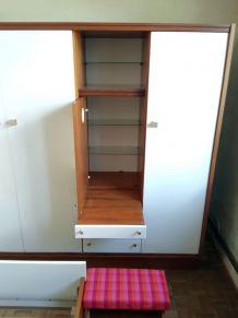 Chambre complète, Lit 140x190, 2 chevets, armoire