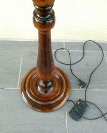 Lampe halogène articulée vintage bois et laiton
