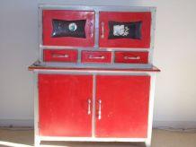 Meuble enfant en bois rouge et blanc, buffet haut et buffet