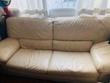 Canapé Vintage Cuir Beige 5 places