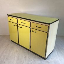 Buffet en formica jaune vintage 60's