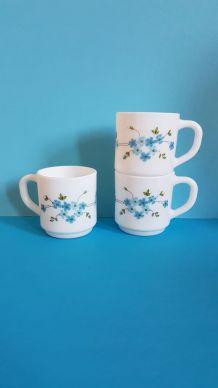 3 tasses à café expresso Arcopal Veronica myosotis